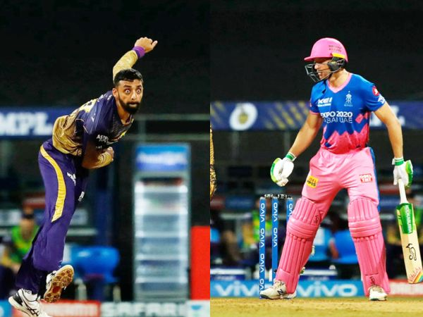 वरुण चक्रवर्ती ने जोस बटलर को आउट कर राजस्थान को पहला झटका दिया। KKR की ओर से वरुण ने सबसे ज्यादा 2 विकेट लिए।