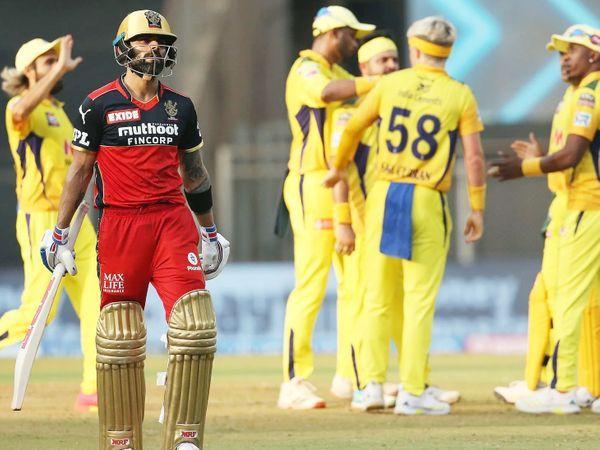 बेंगलुरु के कप्तान विराट कोहली चेन्नई के खिलाफ सिर्फ 8 रन ही बना सके। चेन्नई के 192 रन के टारगेट के जवाब में बेंगलुरु टीम 122 रन ही बना सकी। - Dainik Bhaskar