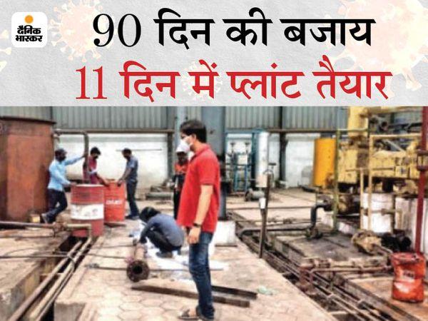 इंदौर के पीथमपुर इलाके के इस प्लांट में मंगलवार से 40 टन ऑक्सीजन रोज मिलने लगेगी।