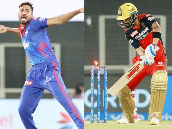 दिल्ली के तेज गेंदबाज आवेश खान ने विराट कोहली को बोल्ड किया। आवेश ने मैच में सधी हुई गेंदबाजी की और 4 ओवर में सिर्फ 24 रन दिए।
