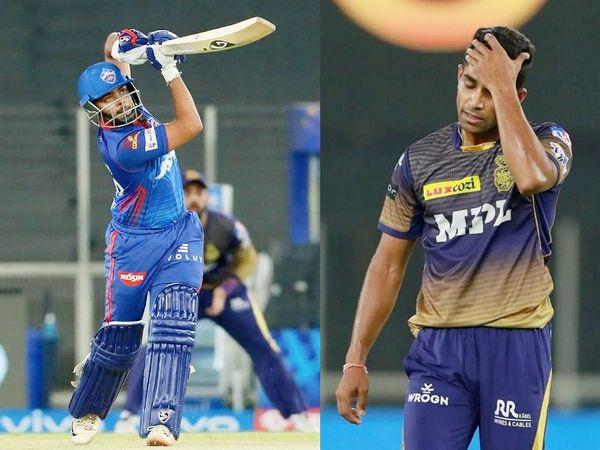 पृथ्वी ने दिल्ली टीम को शानदार शुरुआत दी। उन्होंने शिवम मावी के पहले ओवर में ही 6 बॉल पर 6 चौके लगाए। इसके अलावा मावी ने एक वाइड भी फेंकी। ओवर के दौरान पसीने पोंछते मावी।