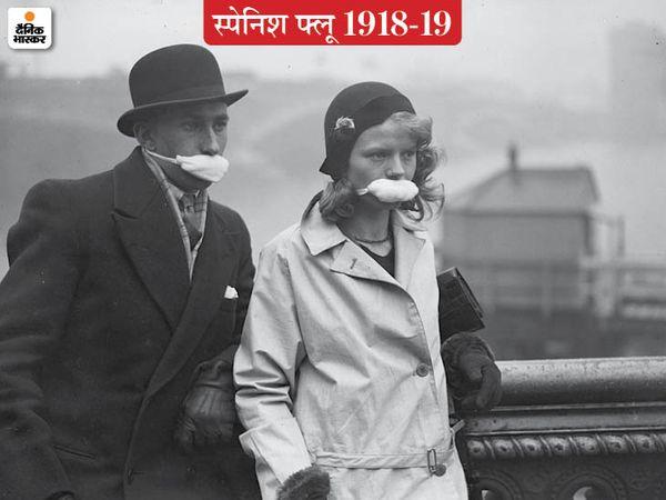 लंदन में फ्लू से बचने के लिए केवल मुंह को ढकने वाले मास्क पहने लोग। इसी तरीके का सुधरा हुआ रूप हैं मौजूदा मास्क जिनसे नाक भी ढंकी जाती है।