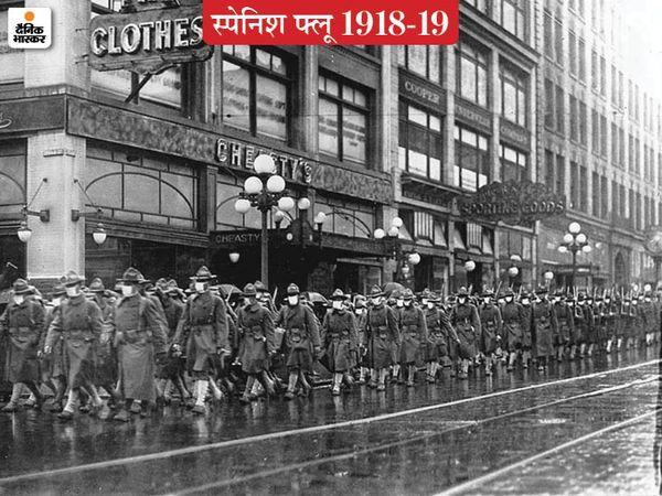 फ्रांस जाने के लिए सिएटल शहर से मार्च करती अमेरिकी सेना की 39वीं रेजिमेंट। रेजिमेंट के सभी जवानों को रेडक्रास सोसाइटी के बनाए मास्क उपलब्ध कराए गए थे।