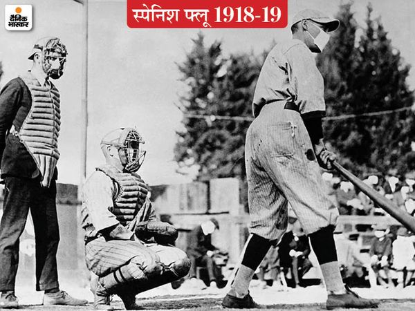 स्पेनिश फ्लू से खेलों की दुनिया भी अछूती नहीं रही। अमेरिका में मास्क पहनकर बेसबाल खेलते खिलाड़ी। बेसबाल के दीवाने अमेरिकियों ने अपना खेल नहीं छोड़ा।