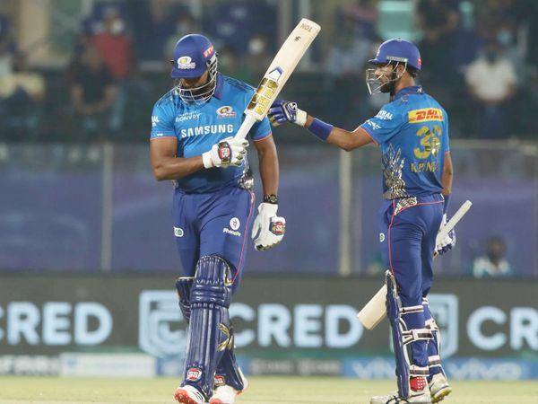 पोलार्ड और क्रुणाल के बीच चौथे विकेट के लिए सिर्फ 41 बॉल पर 89 रन की पार्टनरशिप हुई।