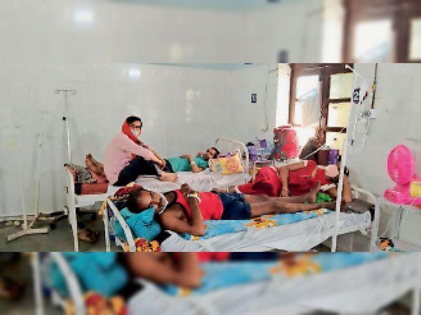 लापरवाही की इंतेहा.... कोविड वार्ड में संक्रमित मरीज के साथ लेटे और बैठे हैं परिजन, ऐसे तो कोरोना विस्फोट होना तय है। - Dainik Bhaskar