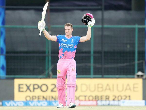 जोस बटलर ने IPL में पहली सेंचुरी लगाई। उन्होंने 64 बॉल पर 124 रन की पारी खेली।