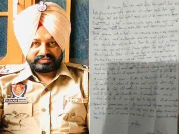 मृतक ASI सतनाम सिंह और उसके द्वारा लिखा गया सुसाइड नोट। - Dainik Bhaskar