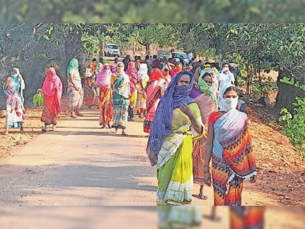 वैक्सीनेशन टीम को गांव में घुसने से रोकने डोंगरकट्टा तथा उच्चपानी के ग्रामीण सड़क पर उतर गए। - Dainik Bhaskar