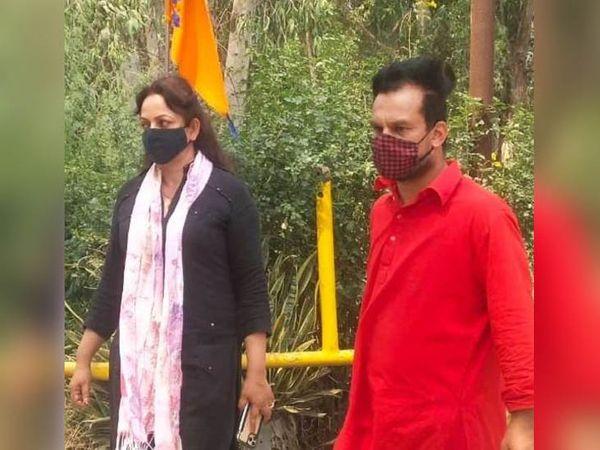 फिल्म की शूटिंग के लिए मोरिंडा पहुंंची अभिनेत्री उपासना सिंह। आरोप है कि वह बिना परमिशन कोरोना लॉकडाउन में शूटिंग कर रही थीं। - Dainik Bhaskar