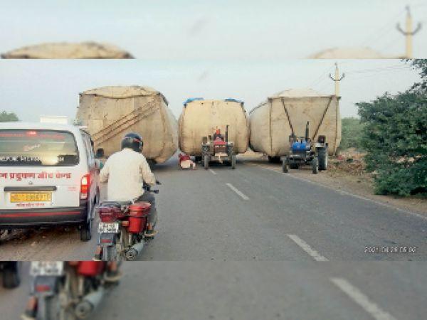 इस तस्वीर को देखकर आप यही कहेंगे कि ऐसे ही वाहन चालकों की हरकतों से हादसे होते हैं व जाम लगता है। - Dainik Bhaskar