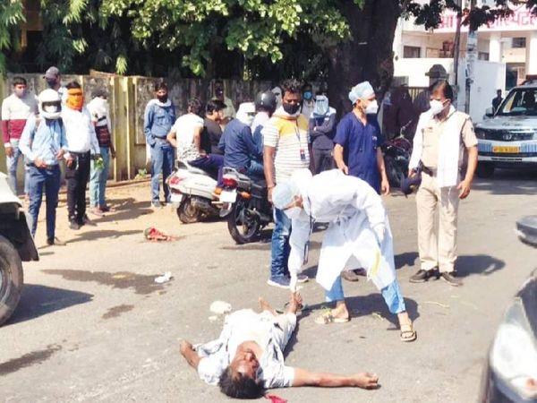 मदनमहल में गाड़ी लेकर गिरने के बाद रेलकर्मी की मौत हो गई। - Dainik Bhaskar