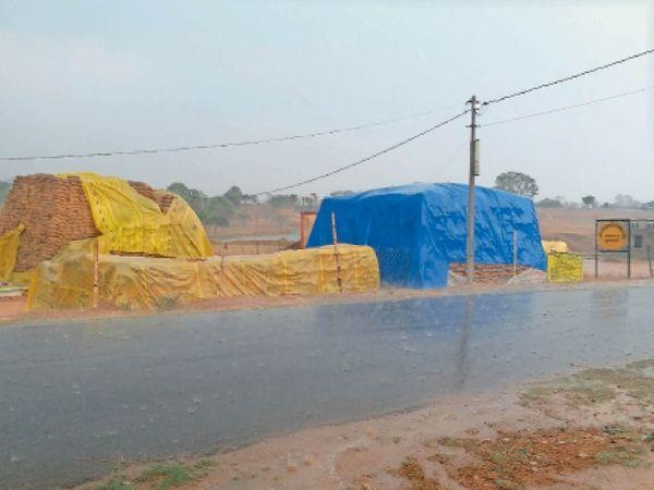 बैकुंठपुर ब्लॉक की समिति पर बारिश से भीग रहा धान। - Dainik Bhaskar