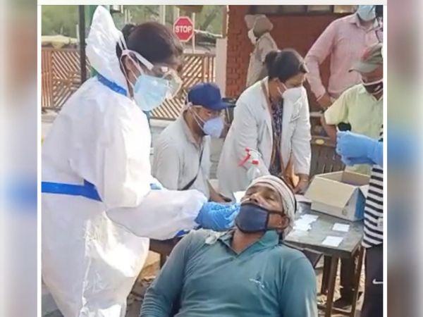 मकसूदां सब्जी मंडी के बाहर रेहड़ी वाले का कोरोना टेस्ट करती सेहत टीम। - Dainik Bhaskar