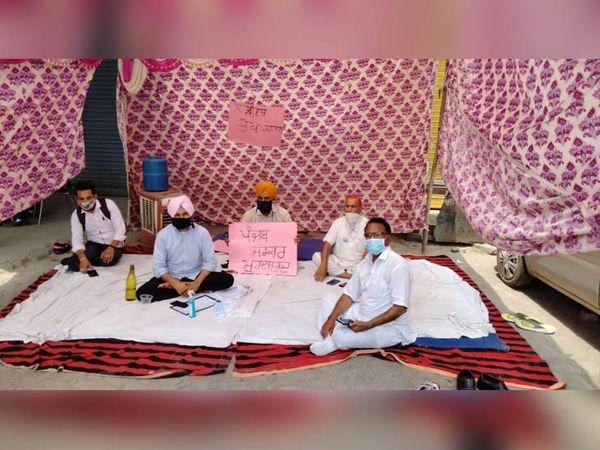 फिरोजपुर में कोरोना सेफ्टी प्रोटोकॉल के तहत लगी पाबंदी के बीच धरने पर बैठे आम आदमी पार्टी के कार्यकर्ता। -फाइल फोटो - Dainik Bhaskar