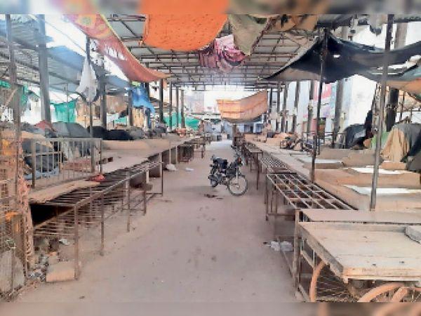 बेगूं. हड़ताल के दौरान बंद पड़ी सब्जी मंडी। - Dainik Bhaskar