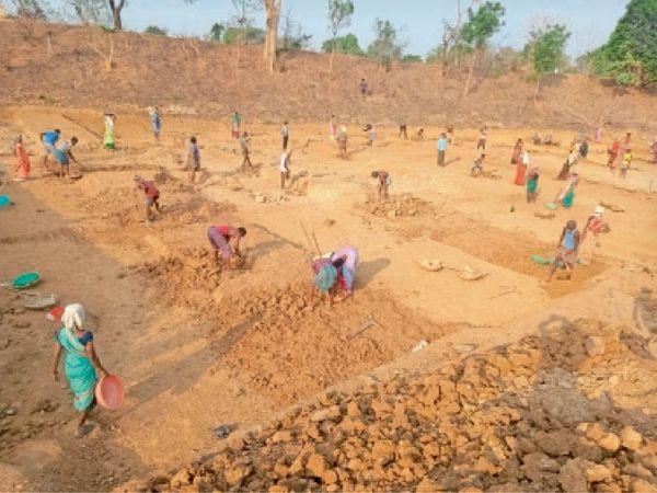 भाटापारा. महात्मा गांधी राष्ट्रीय ग्रामीण रोजगार गारंटी योजना के तहत काम करते श्रमिक। - Dainik Bhaskar