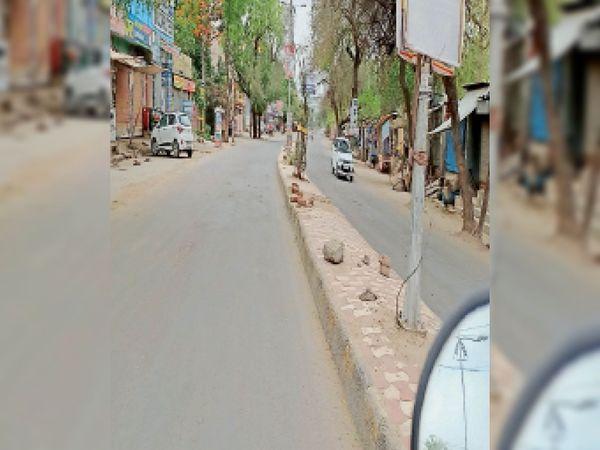 परशुराम चौक से मंडी की ओर जाने वाला सूना पड़ा बाजार। - Dainik Bhaskar