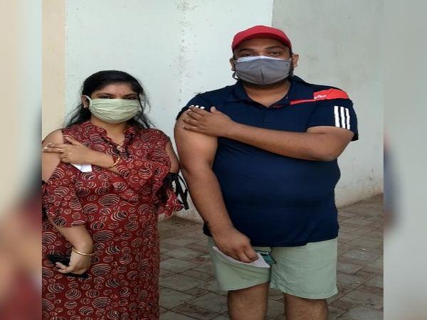 अगस्त 2020 में कोविड आने के बाद परेशानी हुई थी। मंंगल दंपती ने लगवाया टीका।
