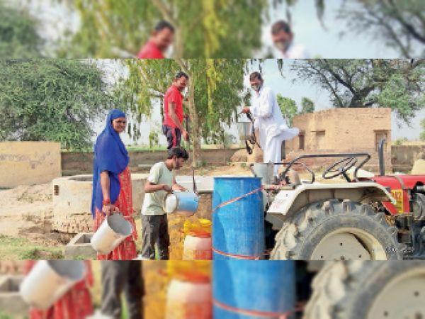 नेतेवाला. ग्राम पंचायत 9 एमएल लट्ठांवाली में पेयजल के लिए ट्रैक्टर पर ड्रम पानी से भरते हुए ग्रामीण। - Dainik Bhaskar