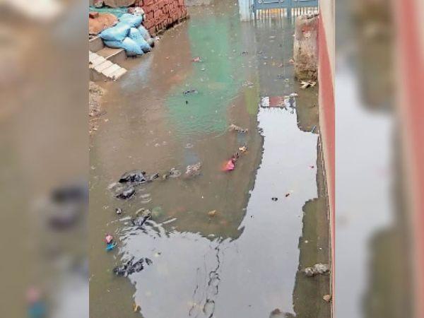 नरकटियागंज के वार्ड नबंर- 7 में पीसीसी सड़क हुआ जलजमाव। - Dainik Bhaskar