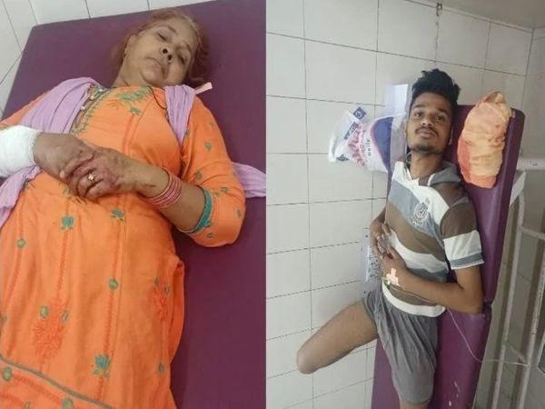 अस्पताल में भर्ती गोलीबारी में घायल परिवार के सदस्य। - Dainik Bhaskar