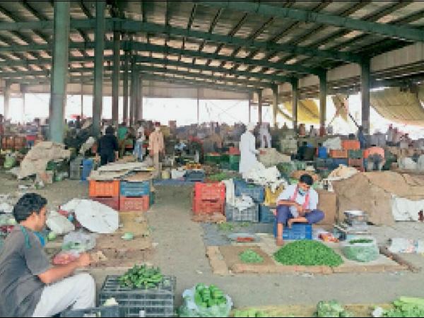 पानीपत. अनाज मंडी वाली सब्जी मंडी में फड़ियां लगाकर सब्जी बेचते मासाखोर। - Dainik Bhaskar