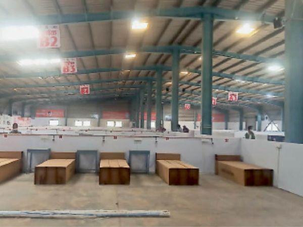 औद्योगिक क्षेत्र में 250 पलंग का वातानुकूलित कोविड केयर सेंटर बनकर तैयार। - Dainik Bhaskar