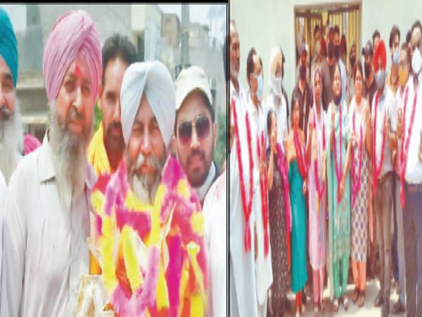 अध्यक्ष चुने जाने के बाद अपने समर्थकों के साथ अध्यक्ष सुरजीत सिंह बाबा (मालाएं पहने हुए) तथा सुमन देवी (प्रथम पंक्ति में छठे नंबर पर) को अध्यक्ष घोषित करते हुए दूसरे गुट के सदस्य। - Dainik Bhaskar