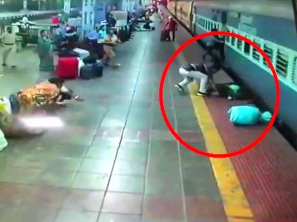 यह घटना प्लेटफार्म नंबर चार पर लगे CCTV कैमरे में कैद हुई है। - Dainik Bhaskar