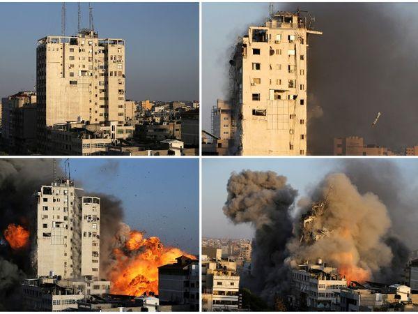 ये फोटो फिलिस्तीन की एक बिल्डिंग की है, जिसे इजराइल ने एयरस्ट्राइक कर जमींदोज कर दिया। - Dainik Bhaskar