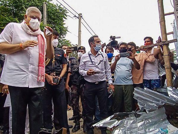 पश्चिम बंगाल के राज्यपाल जगदीप धनखड़ राज्य के हिंसाग्रस्त इलाकों का दौरा कर रहे हैं। - Dainik Bhaskar