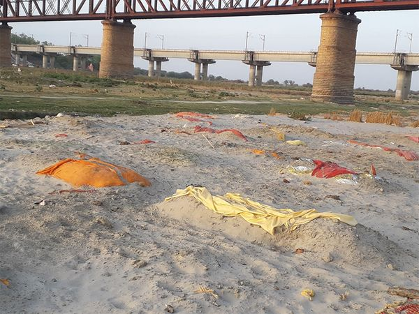 प्रयागराज में फाफामऊ गंगा घाट के किनारे दफन लाशें मिली हैं।
