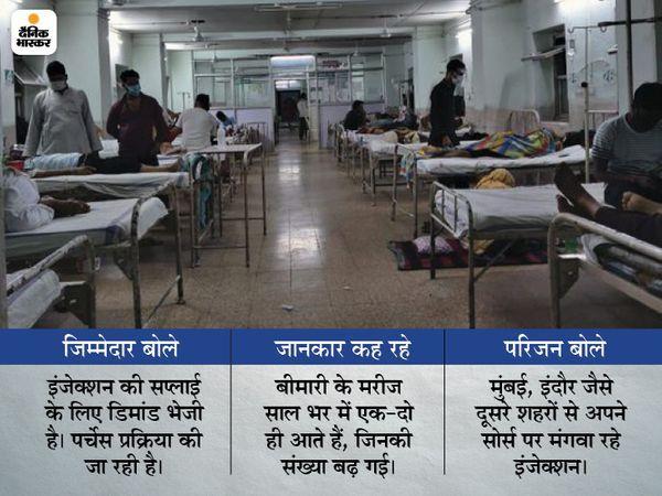 हमीदिया अस्पताल में ईएनटी विभाग में म्यूकर वार्ड में भर्ती मरीज। - Dainik Bhaskar