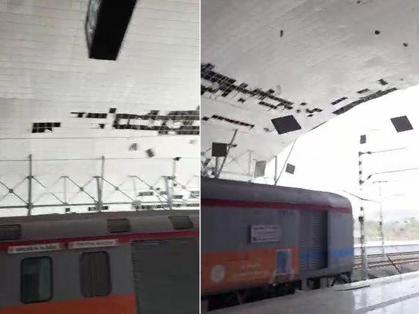 तेज हवाओं के कारण केवडिया रेलवे स्टेशन के कई शेड हवा में उड़ गए।