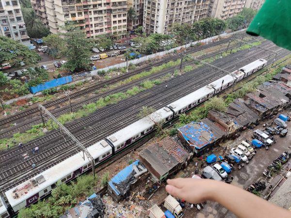 मुंबई के घाट स्टेशन और नित्यानंद नगर के बीच एक लोकल ट्रेन पर गिरा पेड़।