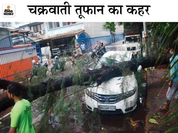 पेड़ गिरने की वजह से मुंबई के कई इलाकों में वाहनों को नुकसान पहुंचा। इससे ट्रैफिक भी प्रभावित हुआ। - Dainik Bhaskar