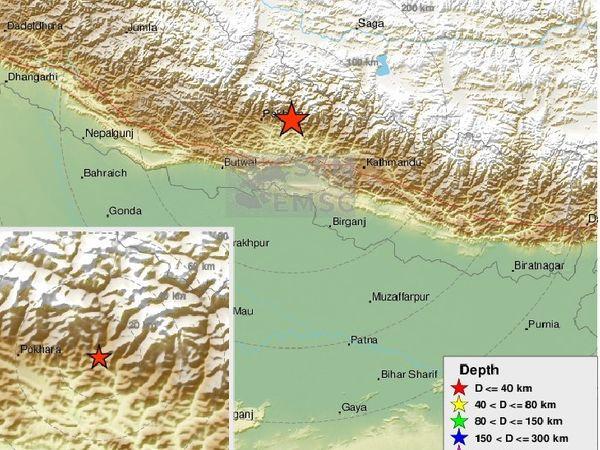 भूकंप का केंद्र पोखरा से 35 किमी पूर्व में था। यहां से बिहार के बेतिया शहर की सीमा 300 किमी दूर है। - Dainik Bhaskar