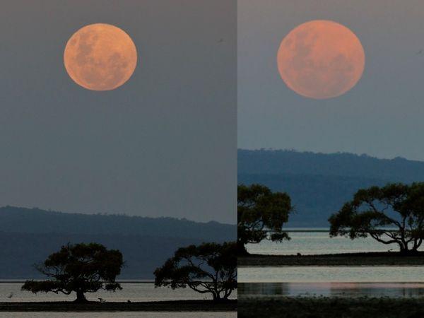 ऑस्ट्रेलिया के नॉर्थ स्ट्रेडब्रोक आइसलैंड में चांद इस तरह लाल रंग में दिखाई दिया।