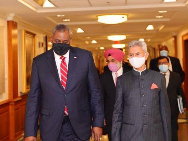 शुक्रवार को वॉशिंगटन में अमेरिकी रक्षा मंत्री लॉयड ऑस्टिन के साथ भारत के विदेश मंत्री जयशंकर। - Dainik Bhaskar