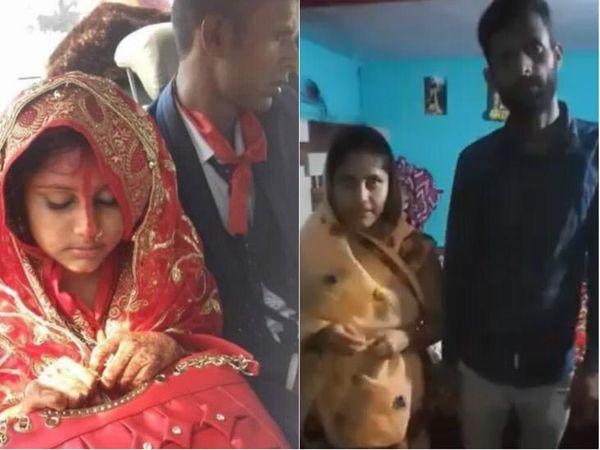 लेफ्ट में सोशल मीडिया पर वायरल तस्वीर, राइट में लड़की द्वारा जारी वीडियो से ली गई तस्वीर। - Dainik Bhaskar