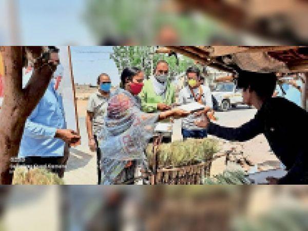 नागौर. वसुंधरा रसोई योजना के तहत कच्ची बस्तियों में भोजन वितरण करते बीजेपी के कार्यकर्ता। - Dainik Bhaskar