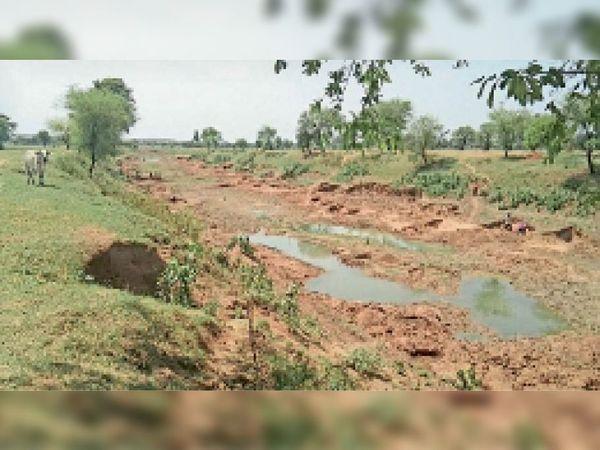 टीकमगढ़| बम्होरी की बारगी नदी को खेद कर इस तरह से निकाली जाती है रेत। - Dainik Bhaskar