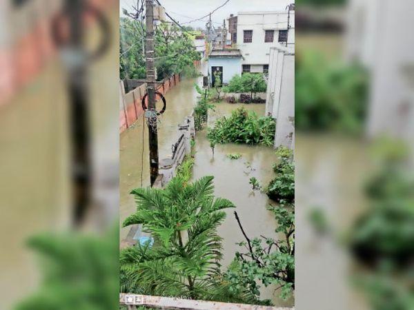 विनोदानंद झा कॉलोनी मेंे घरों में घुसा पानी। - Dainik Bhaskar