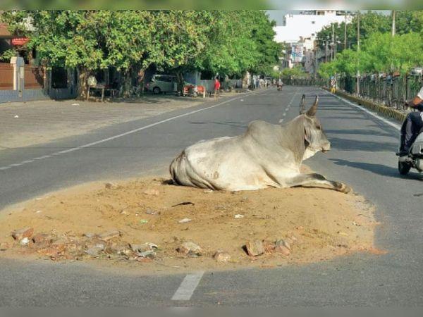 सोनीपत रोड पर पानी की पाइप की लीकेज ठीक करने के बाद छोड़ा गया गड्ढा। - Dainik Bhaskar