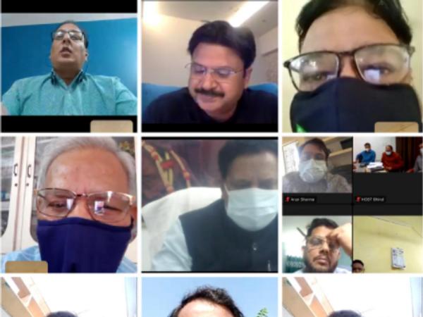 क्राइसिस मैनेजमेंट की वर्चुअल बैठक। - Dainik Bhaskar