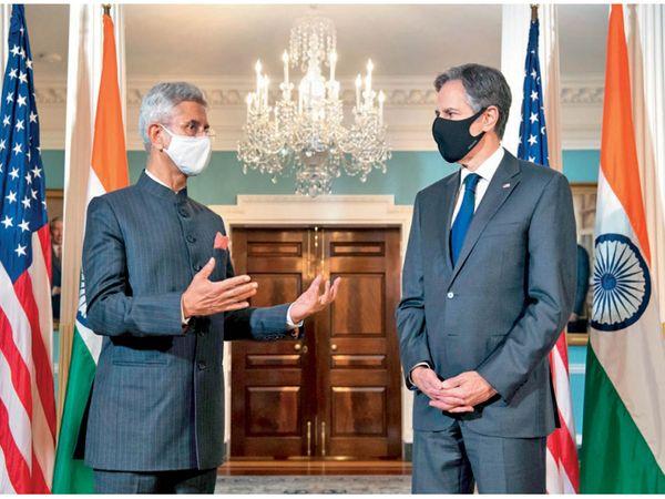 अमेरिकी विदेश मंत्री एंटनी ब्लिंकेन के साथ भारत के विदेश मंत्री एस जयशंकर। - Dainik Bhaskar