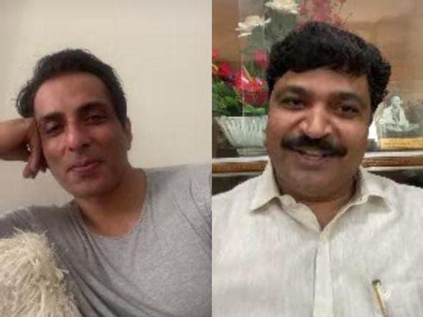 वीडियो कॉलिंग पर बातचीत करते सोनू सूद व श्रम राज्य मंत्री टीकाराम जूली। - Dainik Bhaskar