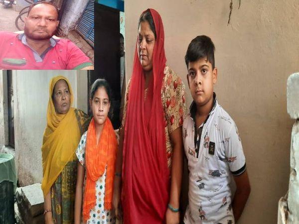 मां-पत्नी व बच्चों के साथ इनसेट में इमरान (जीवित अवस्था में)। - Dainik Bhaskar