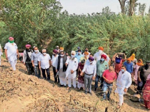 मानकां से लेकर रावलपिंडी तक वेईं पर पुल बनाने का काम का निरीक्षण करते विधायक बलविंदर सिंह धालीवाल, साथ हैं  विभागों के पदाधिकारी। - Dainik Bhaskar